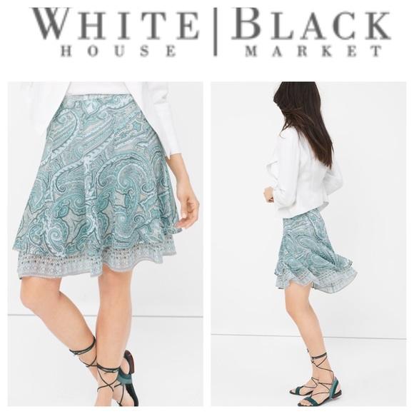 White House Black Market Dresses & Skirts - White House Black Market Paisley Flirty Skirt Sz 8
